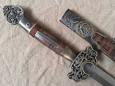 "Collectable Excellent Old Handmade ""龍劍"" Sword Han Jian Sharp Blade"