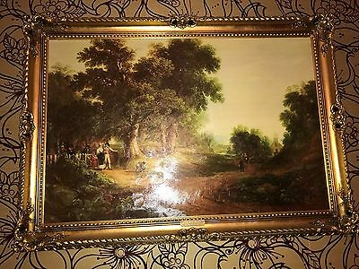 The Sunday Morning oil painting in ornate gold frame