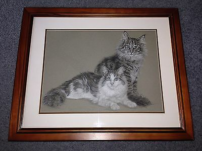 ORIGINAL Framed Charcoal Norwegian Forest Cat Drawing (Signed By Artist)