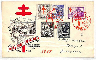 VV192 1947 Spain Charity ANTI-TUBERCULOSIS FUND FDC Cover {samwells-covers}