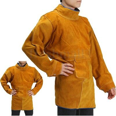 Durable Leather Welding Apron Welders Long Coat Protective Clothing Apparel Suit