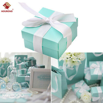 10Pc Paper Gift Boxes Candy Cake Cookies Packaging Party Wedding Blue Favour Box