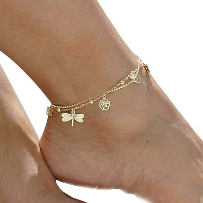 1PC Women Fashion Gold Plated Dragonfly Rose Ankle Bracelet Jewelry