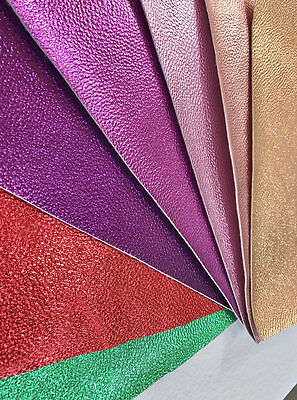 Metallic Pearlised Faux PU Leather Fabric, 1.1mm Thickness 7 Colours