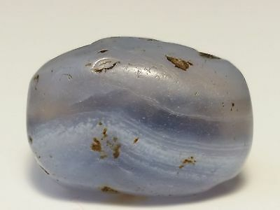 Ancient Rare Blue Chalcedony Agate Bead