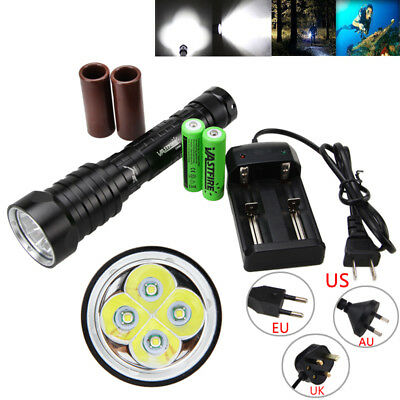 Diving Waterproof 20000LM 4xXML T6 LED Scuba Flashlight 2x28650/18650 Light Lamp