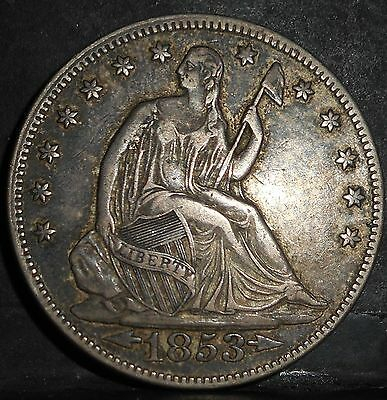 1853 Seated Liberty Half Dollar, Arrows/Rays,  XF solid grade, problem free.