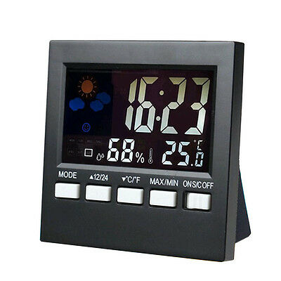 LCD Digital Thermometer Hygrometer Temperature Humidity Meter Room Clock Weather