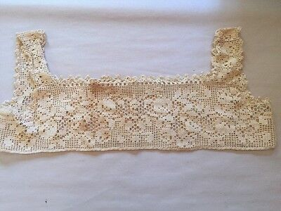 Antique Edwardian Women Dress Lace Crocheted Camisole Top Collar Bodice