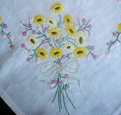Vintage Hand Embroidered Posy of Yellow Buttercups Linen Tablecloth