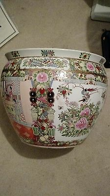 Antique Chinese famille verte porcelain fishbowl