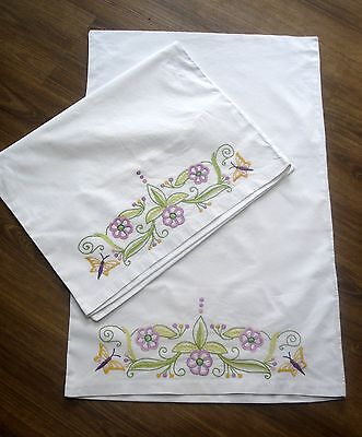 Vintage Pair White Cotton Hand Embroidered Butterflies & Flowers Pillow Cases