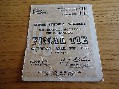 1938 FA Cup Final Ticket  -  Preston North End  v  Huddersfield Town