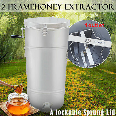New 2 Frame Honey Extractor Stainless Steel Manual With Cover Honey Outlet