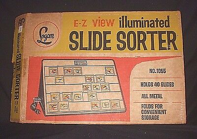 E-Z View Illuminated Slide Sorter Logan No.1055 Vintage Works Original Box