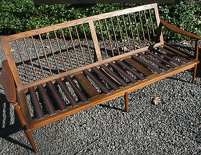 Danish Modern Mid Century Wood Teak? Couch Sofa Settee Eames