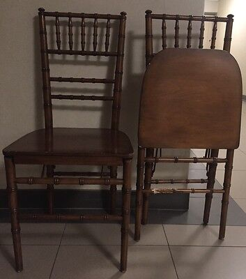 Vintage Wooden Bamboo Design Folding Chair- Set Two- Pair