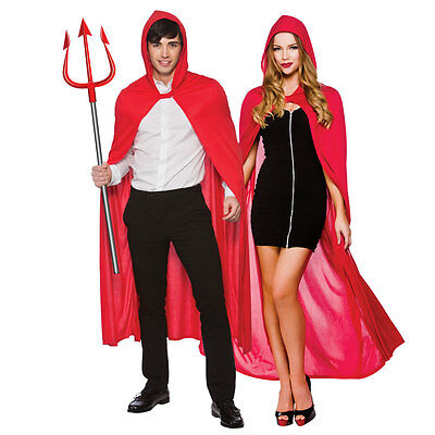 Adult Womens Red Cape with Hood Super Hero Comic Book Fancy Dress Costumes 5095