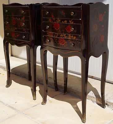 Pair of Beautiful Vintage French Floral Bedside Tables