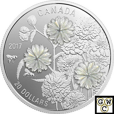 2017 'Pearl Flowers' Proof $20 Silver Coin 1oz .9999 Fine (18088) (NT)