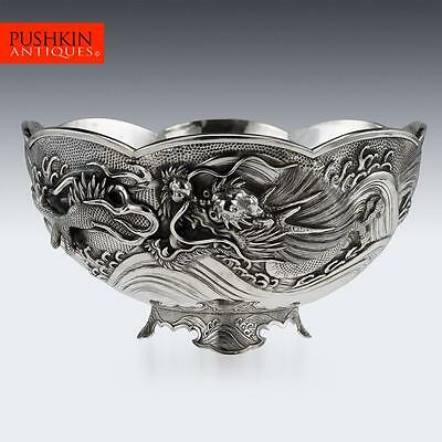 ANTIQUE 19thC JAPANESE MEIJI PERIOD SOLID SILVER MASSIVE DRAGON BOWL c.1890