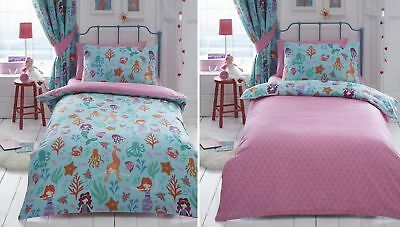 Mermaid Kids Girls Duvet Quilt Cover Bedding Bed Linen Set Pillowcase Aqua Pink