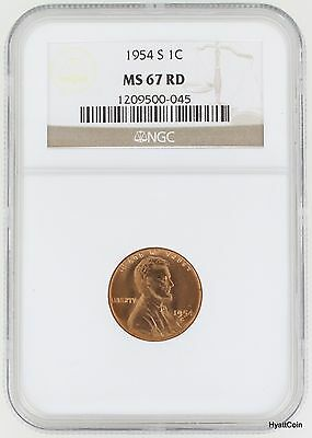 1954-S Lincoln Wheat Cent 1C NGC MS67 RD Red