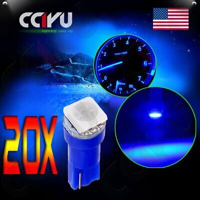20pcs Blue T5 58 70 73 74 Dashboard Gauge 1-5050-SMD LED Wedge Light Bulbs Lamp