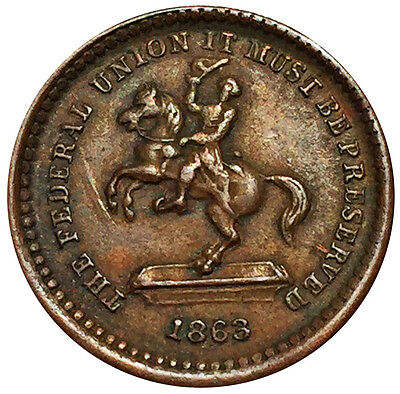 1863 Our Union Must Be Preserved Jackson Civil War Token  F-178/267 a