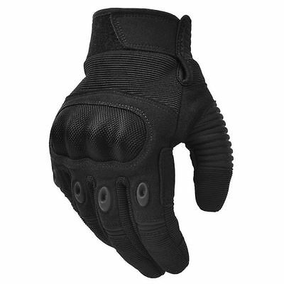 Men's Tactical Gloves Motorbike Military Combat Army Hard Knuckle Black Large