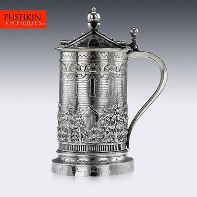 ANTIQUE 19thC RUSSIAN TROMPE L'OEIL HOUSE SOLID SILVER TANKARD, MOSCOW c.1871