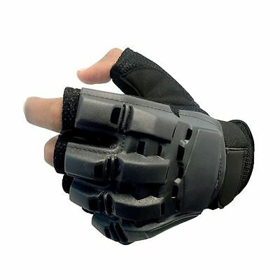 Men's Tactical Gloves Fingerless Motorbike Military Combat Knuckle Black Large