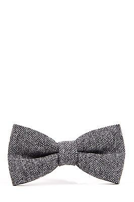 Mens Marc Darcy Designer Grey Heritage Herringbone Tweed Bow Tie