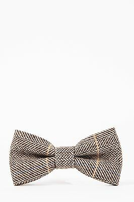 Mens Marc Darcy Designer Tan Tweed Herringbone Check Bow Tie