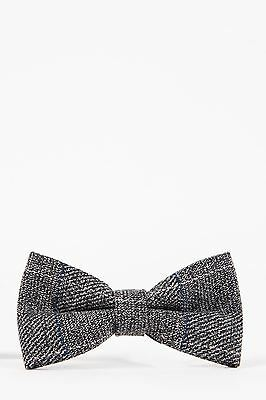 Mens Marc Darcy Designer Grey Multi Tonal Check Tweed Bow Tie