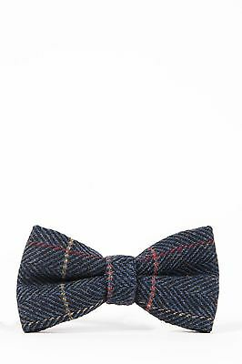 Mens Marc Darcy Designer Navy Check Tweed Bow Tie