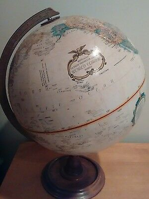 "Vintage Repogle 12"" World Classic Globe Wood Base Raised Relief"