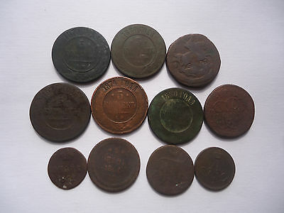 Lot Of 11  Russian  Copper  Coins  (1761 - 1880)