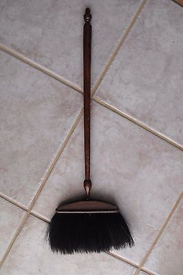 ANTIQUE  VINTAGE signed WHITING ADAMS  FIREPLACE HEARTH BROOM  WOOD HANDLE