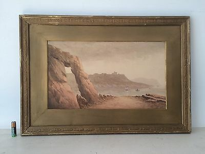 Antique Watercolour Painting Seascape Gilt Frame And Mount Signed 19th Century