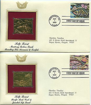 2009 Fdc, Kelp Forest Lot Of 10 Covers, 22K Gold Replica