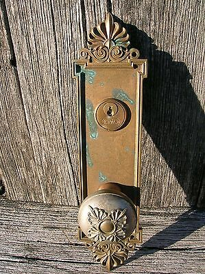 Vintage Old Antique Ornate Bronze Yale & Towne Matched Door Knob and Plate
