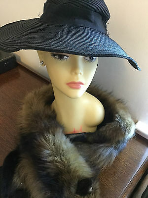 Original Vintage 1920s - early 1930s French Black Ladies Hat with Wide Rim