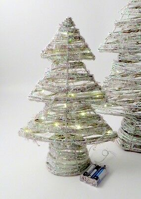 40cm White Frosted Light Up LED Tree - Battery