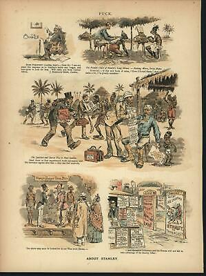 Racism Tribal Exploitation Con Moral Theft 1889 antique color lithograph print