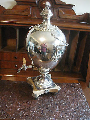 Antique Silver  Over Copper  Large  Coffee Pot w Bakelite Switch