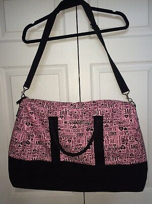 Victoria's Secret Duffel, Gym, Overnight Bag Black And Pink EUC!!