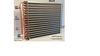"20x25 Water to Air Heat Exchanger 1"" Copper ports w/ EZ Install Front Flange"