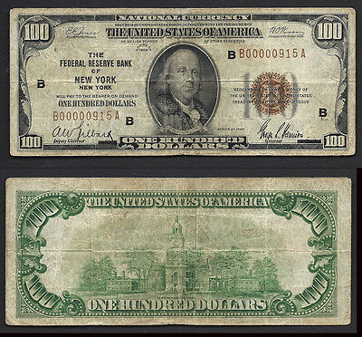 $100 1929 FRBN=NEW YORK=brown seal==ONE YEAR=LOW SERIAL NUMBER=FINE