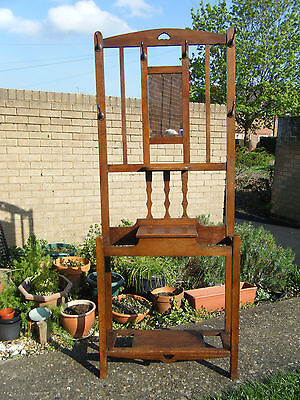 Vintage Edwardian Large Oak Wood Hall/Wall Stand 'British Made'